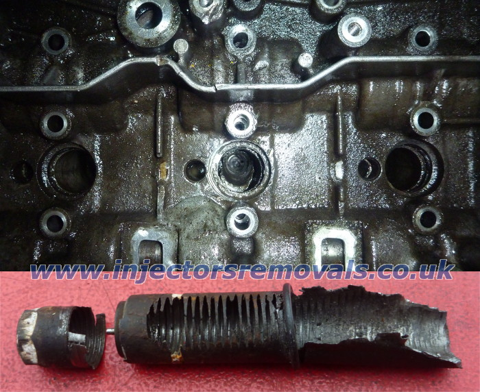 Snapped and drilled injector removed from